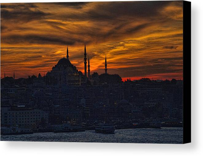 Dramatic Canvas Print featuring the photograph Istanbul Sunset - A Call To Prayer by David Smith