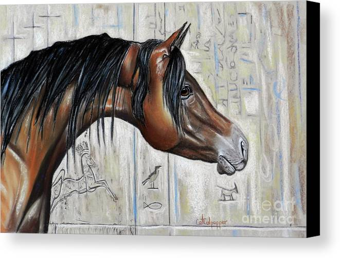 Beautiful Blood Bay With Stone Etched Background Canvas Print featuring the pastel Arabian 5 by Cat Culpepper