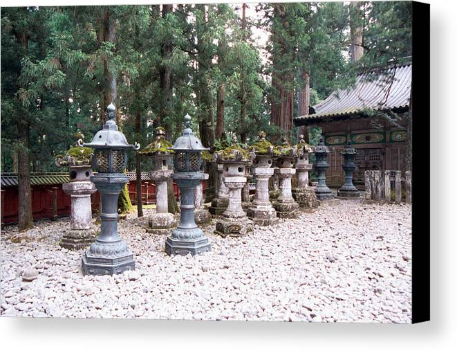 Japan Canvas Print featuring the photograph Japanese Stone Lanterns by Dianne Levy