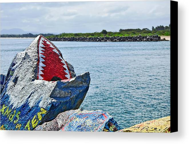 Photography Canvas Print featuring the photograph Jaws - Beach Graffiti by Kaye Menner