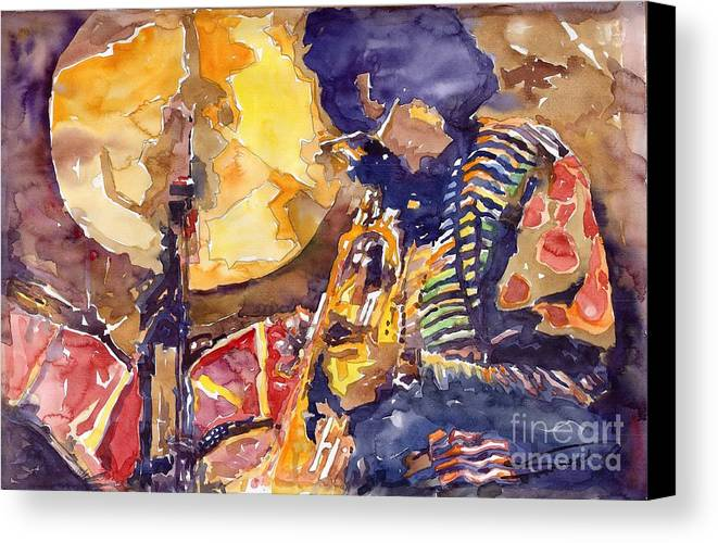 Miles Davis Figurative Jazz Miles Music Musiciant Trumpeter Watercolor Watercolour Canvas Print featuring the painting Jazz Miles Davis Electric 2 by Yuriy Shevchuk