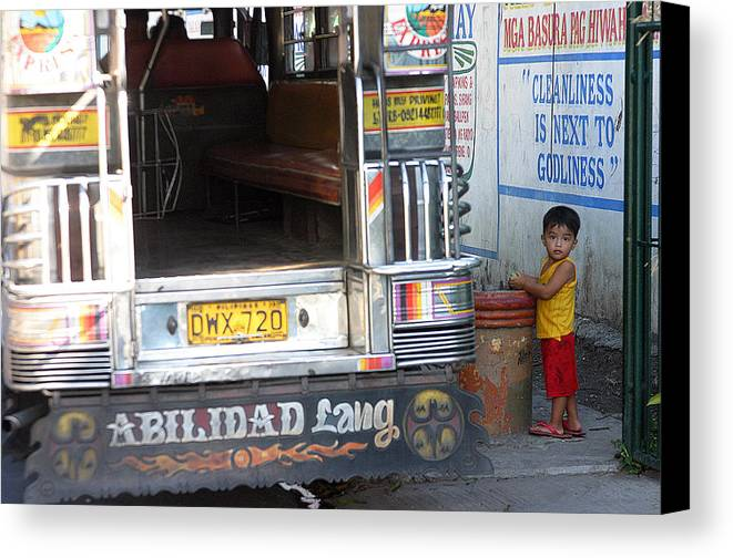 Photographer Canvas Print featuring the photograph Jeepney Kid by Jez C Self