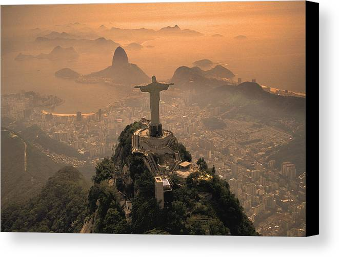 Jesus Canvas Print featuring the photograph Jesus In Rio by Christian Heeb