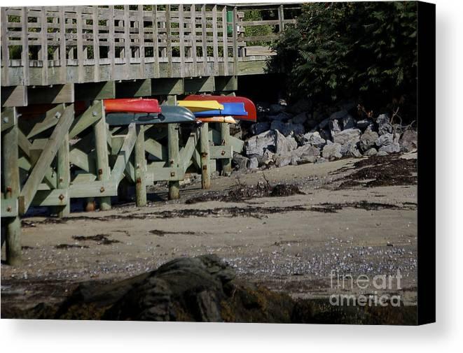 Kayak Canvas Print featuring the photograph Kayak Rack by Faith Harron Boudreau