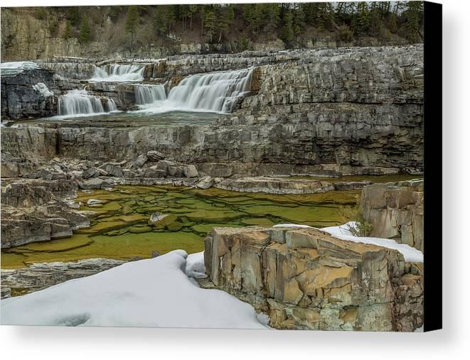 Kootenai Falls Canvas Print featuring the photograph Kootenai Falls In Winter by Wild Montana Images