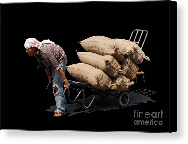 Labor Worker Culture Thailand Man Canvas Print featuring the photograph Labor Worker by Ty Lee