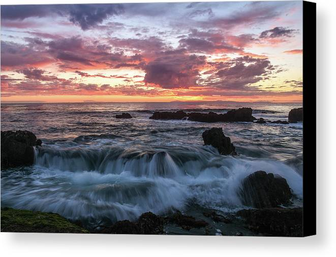 Sunset Canvas Print featuring the photograph Laguna Falls Laguna Beach by Seascaping Photography