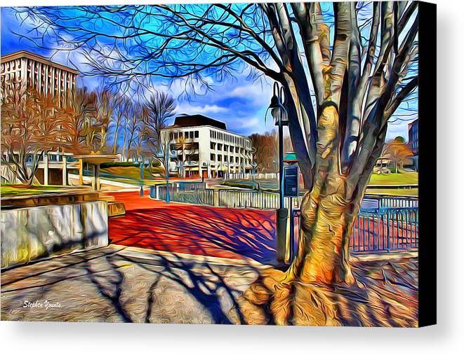 Howard County Canvas Print featuring the digital art Lake Kittamaqundi Walkway by Stephen Younts
