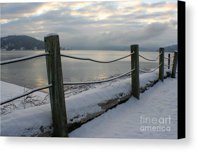 Fence Canvas Print featuring the photograph Lake Snow by Idaho Scenic Images Linda Lantzy