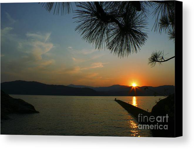 Sunset Canvas Print featuring the photograph Lake Sunset by Idaho Scenic Images Linda Lantzy