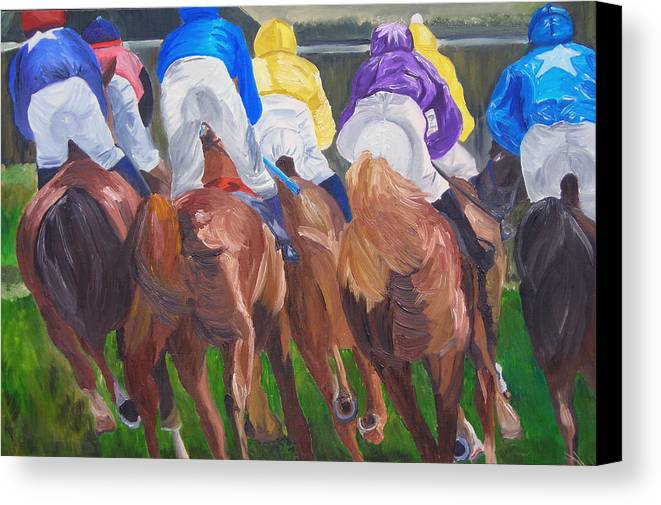 Horse Racing Canvas Print featuring the painting Leading The Pack by Michael Lee