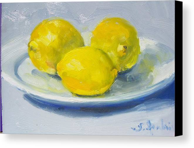 Still Life Canvas Print featuring the painting Lemons On A White Plate by Susan Jenkins