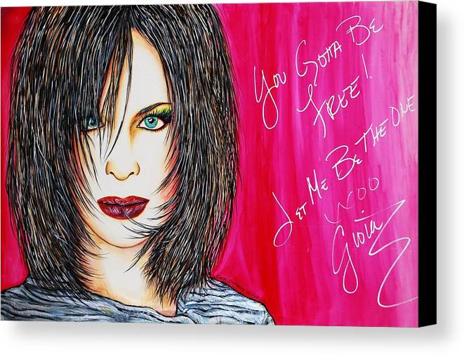 Autographed Canvas Print featuring the mixed media Let Me B Free And The One by Joseph Lawrence Vasile