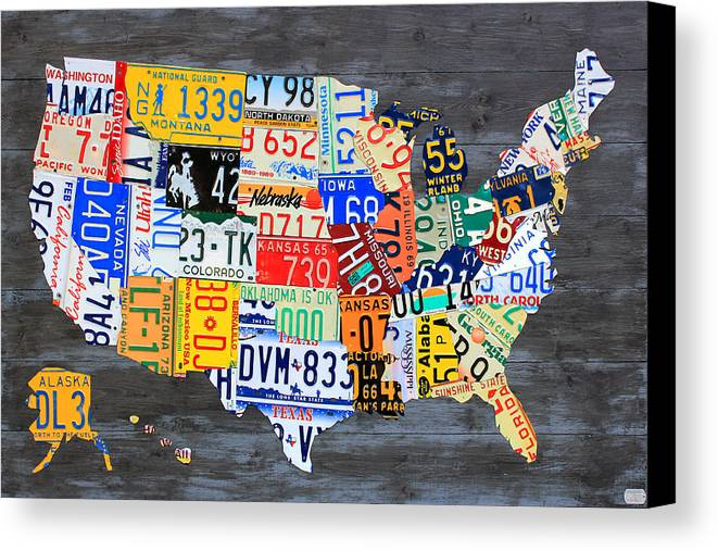 License Plate Map Of The Usa On Gray Distressed Wood Boards Canvas ...