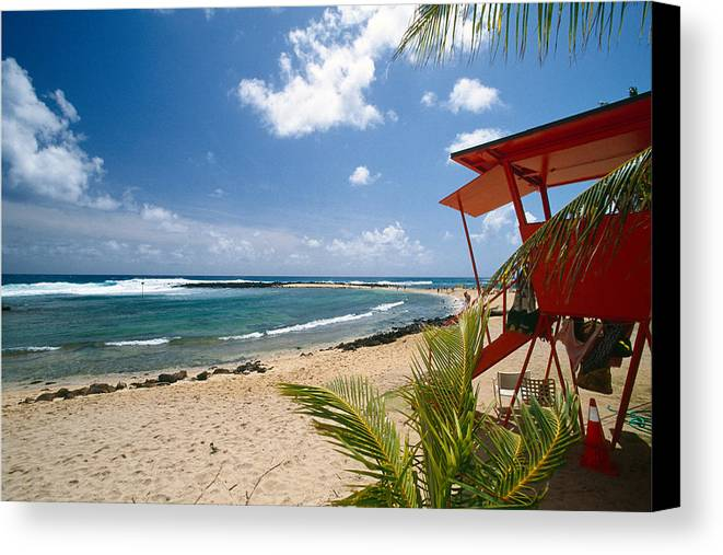Bathing Canvas Print featuring the photograph Lifeguard Station On The Beach Poipu Beach Kauai Hawaii by George Oze