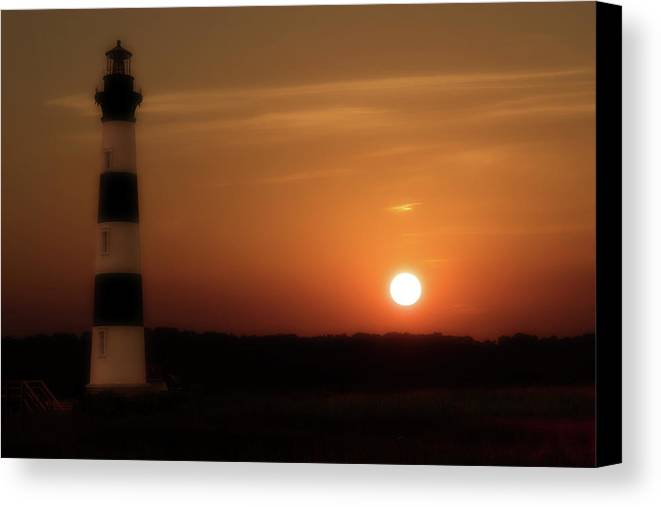 Beach Canvas Print featuring the photograph Lighthouse At Sunset by Randy Steele
