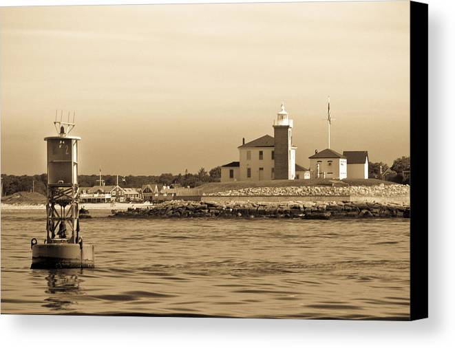 Bw Canvas Print featuring the photograph Lighthouse Watch Hill by Arthur Sa
