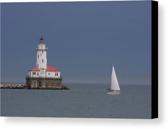 Lighthouse Canvas Print featuring the photograph Lighthouse With Sailboat by Shari Bailey