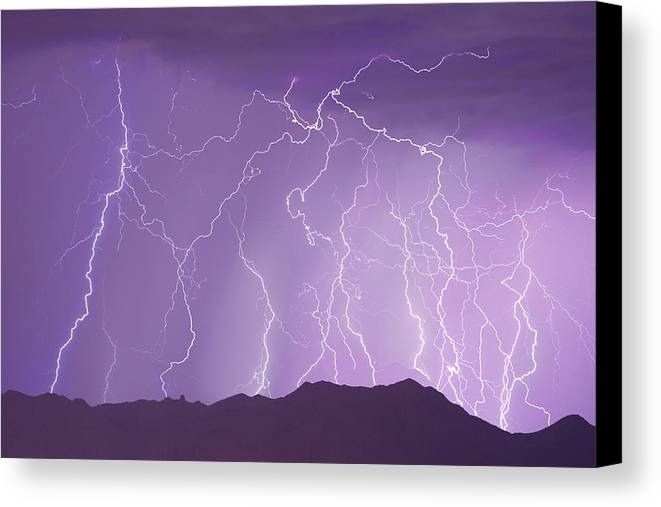 Lightning Canvas Print featuring the photograph Lightning Over The Mountains by James BO Insogna