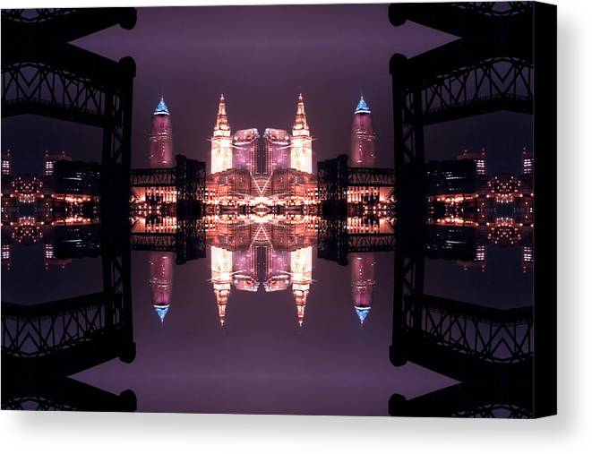 Cleveland Canvas Print featuring the photograph Lights Buildings And Bridges by Kenneth Krolikowski