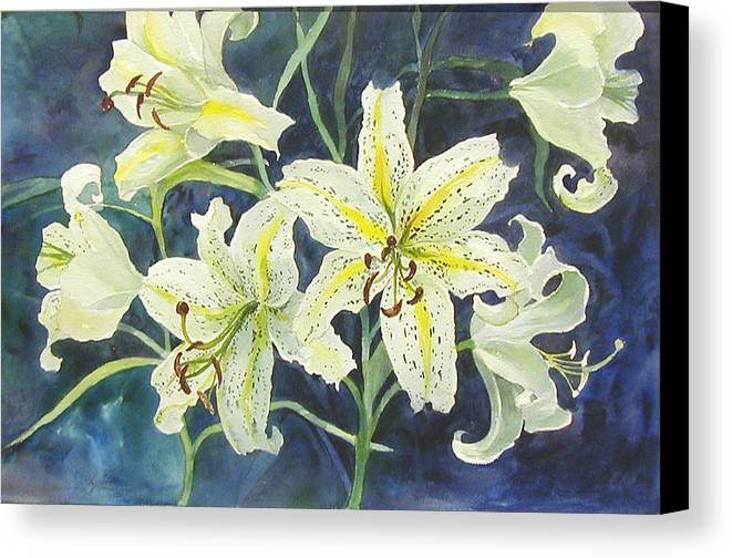 Floral;lilies; Canvas Print featuring the painting Lilies So White by Lois Mountz