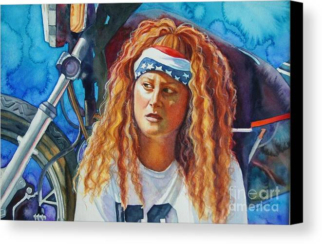 Portrait Canvas Print featuring the painting Lisa's Ride by Gail Zavala