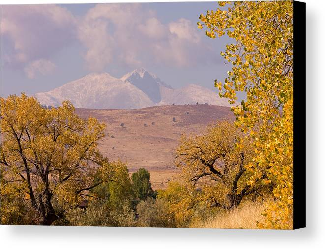 Twin Peaks Canvas Print featuring the photograph Longs Peak Diamond Autumn Shadow by James BO Insogna