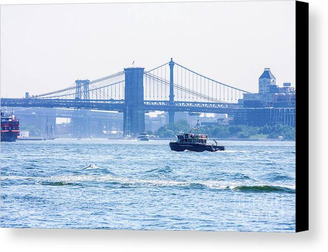 This Is A Photo Looking Across The Hudson Up At The Brooklyn Bridge And The East River Canvas Print featuring the photograph Looking Up At Brooklyn by William Rogers