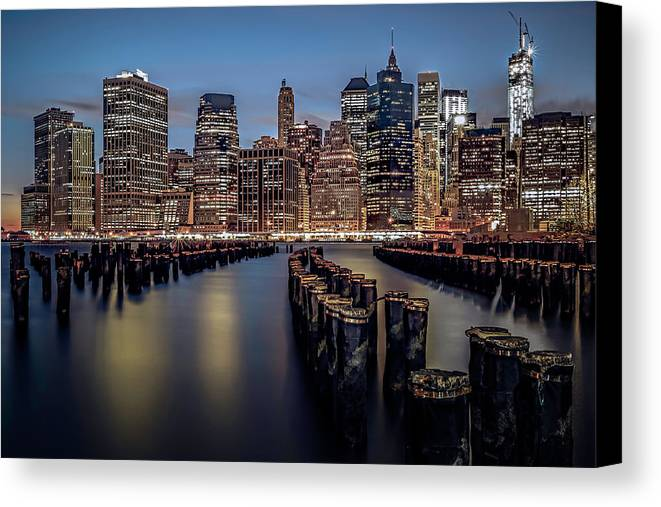 America Canvas Print featuring the photograph Lower Manhattan Skyline by Eduard Moldoveanu