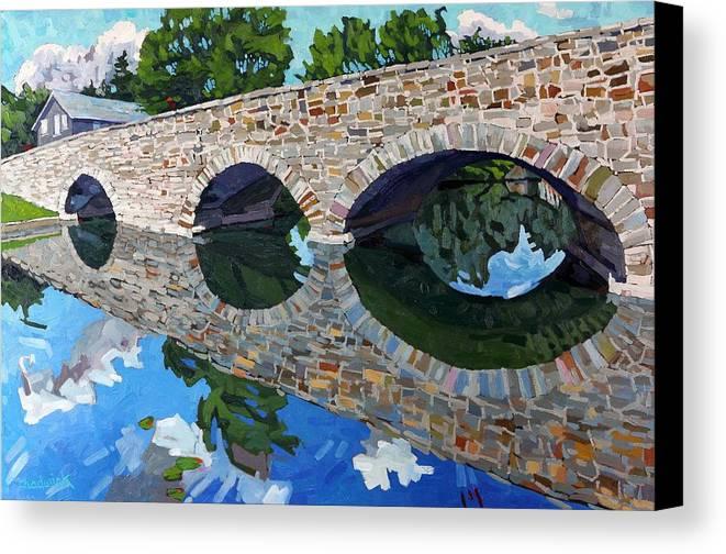 Lyndhurst Canvas Print featuring the painting Lyndhurst Bridge by Phil Chadwick