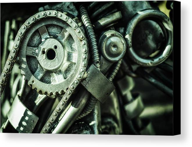 Machine Parts Canvas Print featuring the photograph Machine Part Bnw Abstract II by John Williams