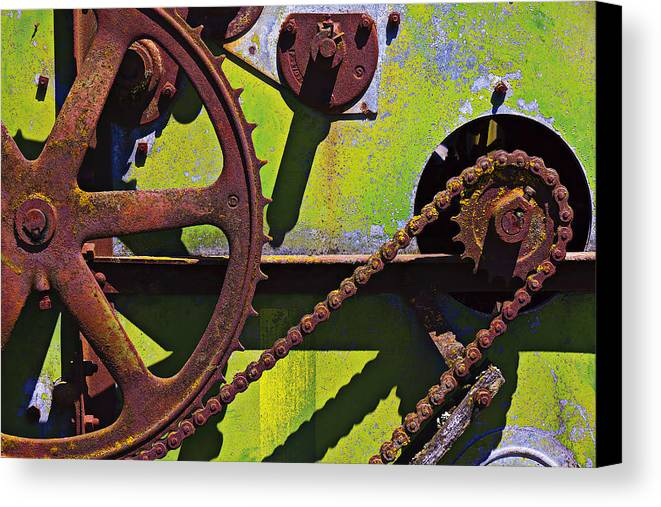 Machinery Canvas Print featuring the photograph Machinery Gears by Garry Gay