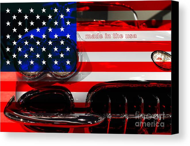 1956 Chevy Corvette Canvas Print featuring the photograph Made In The Usa . Chevy Corvette by Wingsdomain Art and Photography