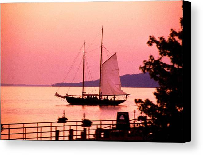 America's Cup Canvas Print featuring the photograph Malabar X Sailboat At Sunset by Roger Soule