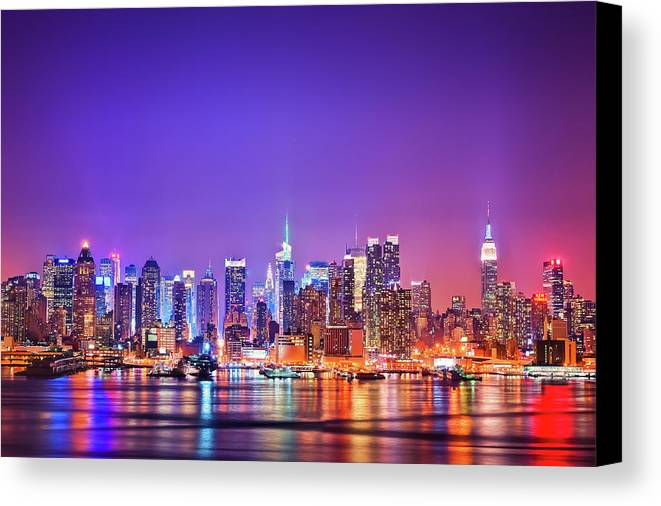 Horizontal Canvas Print featuring the photograph Manhattan Lights by Matthias Haker Photography