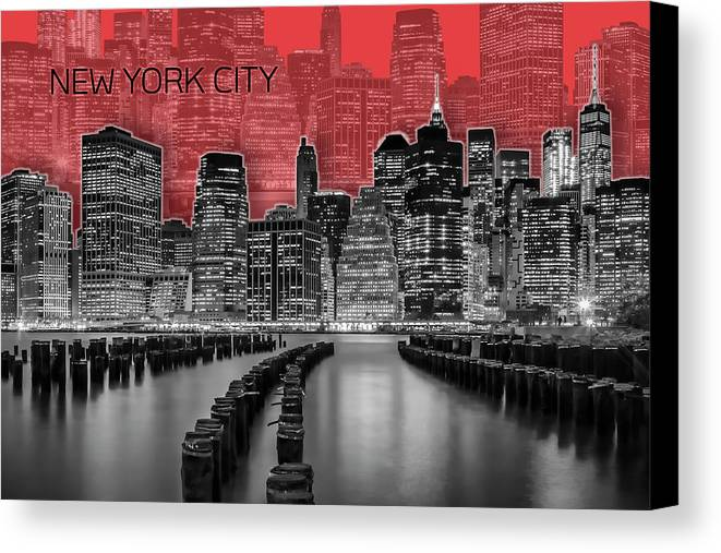 New York Canvas Print featuring the digital art Manhattan Skyline - Graphic Art - Red by Melanie Viola