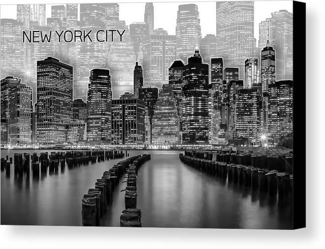 New York Canvas Print featuring the digital art Manhattan Skyline - Graphic Art - White by Melanie Viola