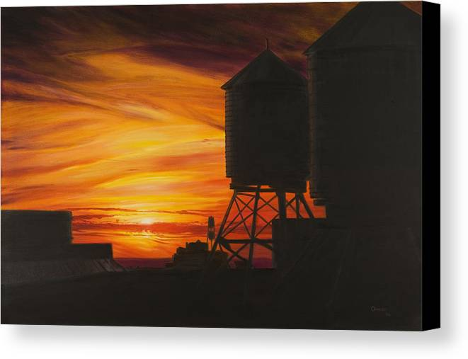 Manhattan Sunset Canvas Print featuring the painting Manhattan Sunset by Christopher Oakley