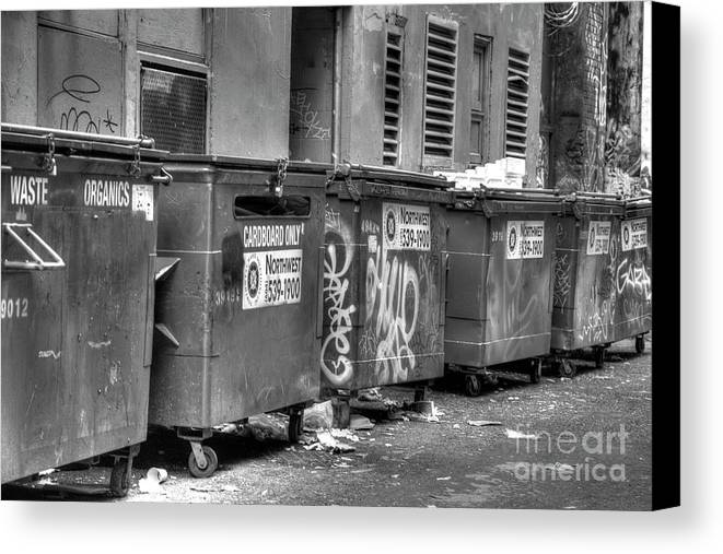 High Dynamic Range Canvas Print featuring the photograph Many Bins by Dorothy Hilde