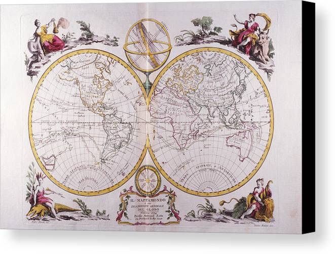 Horizontal Canvas Print featuring the digital art Map Of The World by Fototeca Storica Nazionale