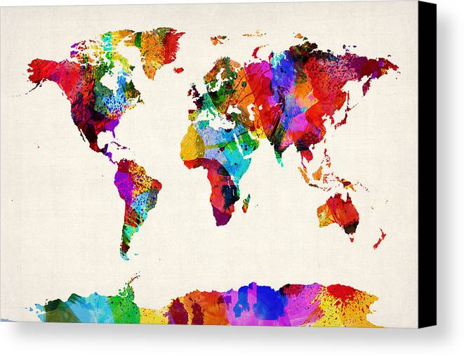 Map Of The World Map Abstract Painting Canvas Print / Canvas Art by ...