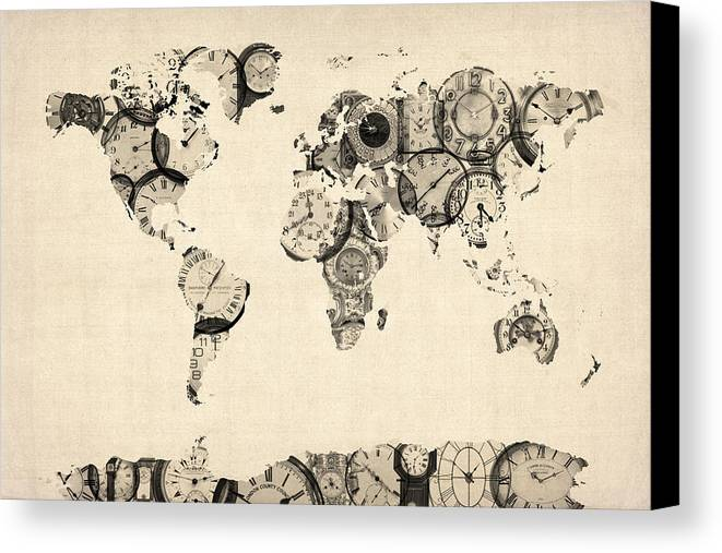 World Map Canvas Print featuring the digital art Map Of The World Map From Old Clocks by Michael Tompsett