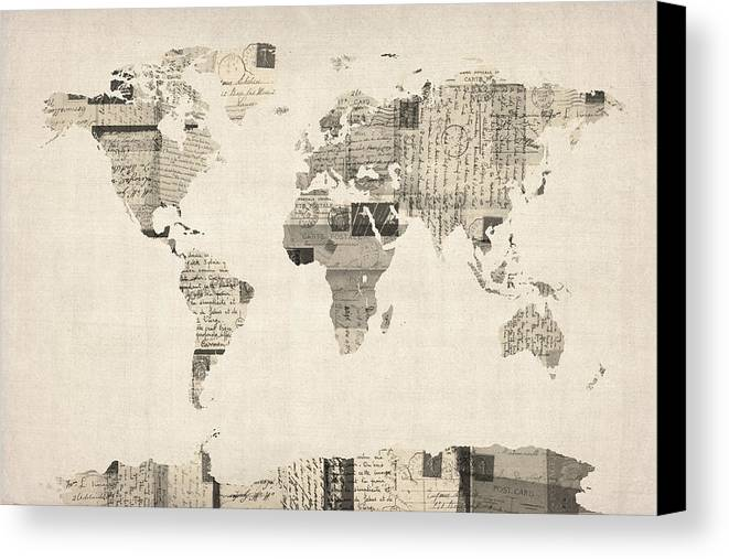 World Map Canvas Print featuring the digital art Map Of The World Map From Old Postcards by Michael Tompsett