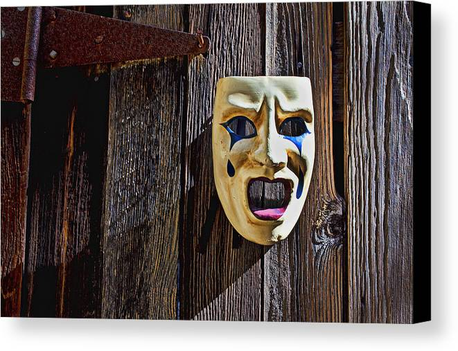 Mask Canvas Print featuring the photograph Mask On Barn Door by Garry Gay