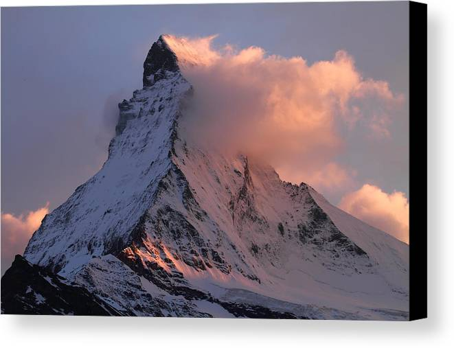 Matterhorn Canvas Print featuring the photograph Matterhorn At Dusk by Jetson Nguyen