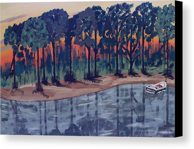 Boat Canvas Print featuring the painting Maxine's Boat by Eckland Cort