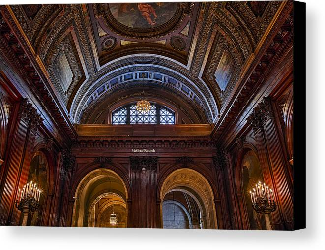 Empire State Canvas Print featuring the photograph Mcgraw Rotunda Nypl by Susan Candelario