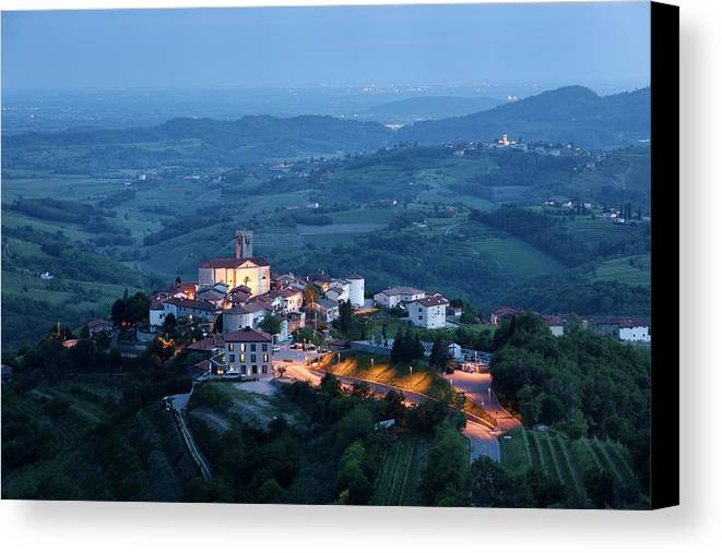 Smartno Canvas Print featuring the photograph Medieval Hilltop Village Of Smartno Brda Slovenia At Dusk With S by Reimar Gaertner