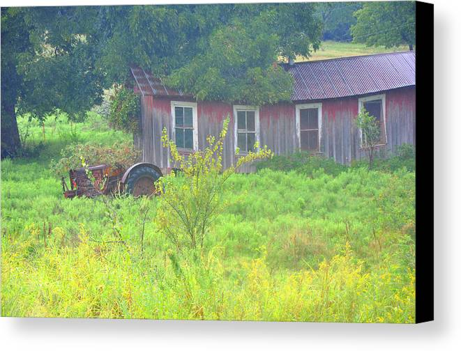 Tractor Canvas Print featuring the photograph Memories Of Oklahoma by Vonda Barnett