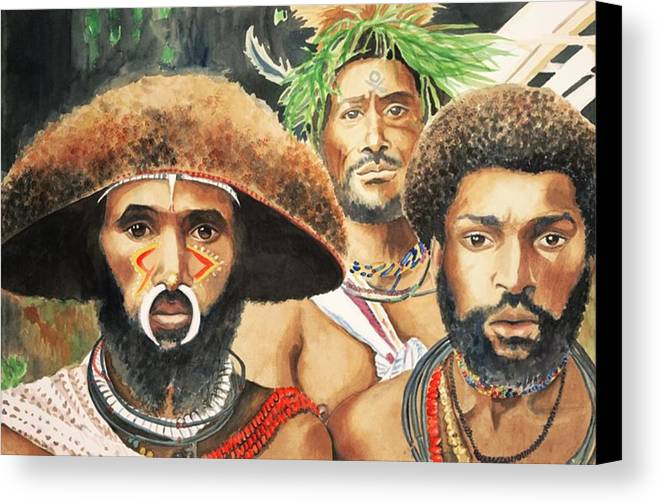 Men From New Guinea Canvas Print featuring the painting Men From New Guinea by Judy Swerlick